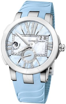 Ulysse Nardin Executive Dual Time Blue Mother of Pearl Diamond Dial Blue Rubber Ladies Watch 243-10-3-393