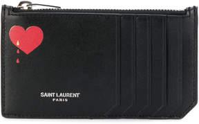 Saint Laurent card holder with heart - BLACK - STYLE