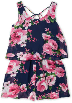 Truly Me Girls 7-16) Navy Floral Chiffon Popover Romper