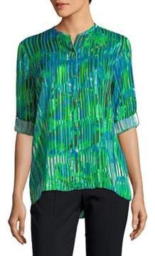 T Tahari Driya Pleated Blouse