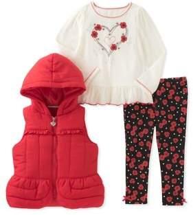 Kids Headquarters Baby Girl's Three-Piece Puffer Vest, Blouse & Leggings Set
