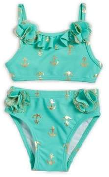 Flapdoodles Baby Girl's Two-Piece Anchor Print Swimsuit