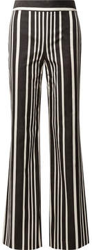 Alice + Olivia Alice Olivia - Johanna Striped Cotton-blend Wide-leg Pants - Black