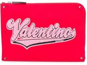 Valentino logo appliqué pouch