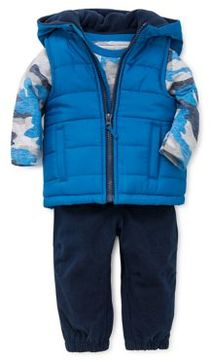 Little Me Baby Boy's Three-Piece Puffer Vest Hoodie Top & Pants Set