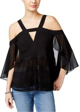 GUESS Womens Pleated Pullover Blouse Black L
