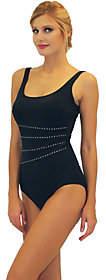 Fit 4 U Fit 4 Ur Tummy Metallic Studded Stripe Tank Swimsuit