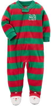 Carter's Baby Boy On the Nice List Striped Microfleece One-Piece Christmas Pajamas