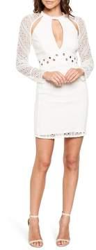 Bardot Grommet Detail Broderie Anglaise Dress