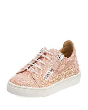 Giuseppe Zanotti Mattaglitt Glitter Low-Top Sneaker, Infant