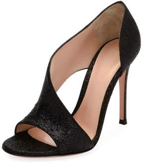 Gianvito Rossi Demi Asymmetric Metallic Fabric Sandals, Black