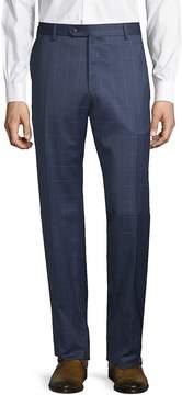 Lubiam Men's Windowpane Wool Trousers