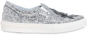 Chiara Ferragni 30mm Kiss Glitter Slip-On Sneakers