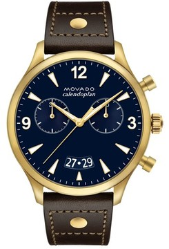 Movado Men's Heritage Calendoplan Chronograph Leather Strap Watch, 45Mm