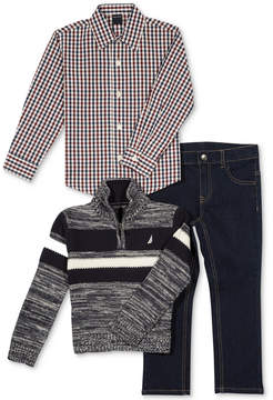 Nautica 3-Pc. Colorblocked Sweater, Plaid Shirt & Jeans Set, Baby Boys (0-24 months)