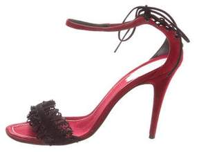 Rene Caovilla Suede Lace-Tie Sandals