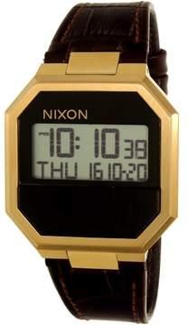 Nixon Men's Re-Run Leather A944849 Brown Crocodile Leather Analog Quartz Fashion Watch