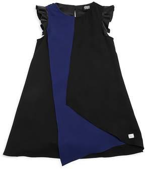 Armani Junior Girls' Faux-Leather Flutter-Sleeve Asymmetrical Dress - Big Kid