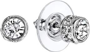 1928 Simulated Crystal Round Stud Earrings