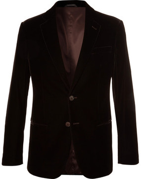 Giorgio Armani Brown Soho Slim-Fit Velvet Blazer