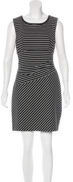 Cynthia Steffe Leather-Trimmed Striped Dress
