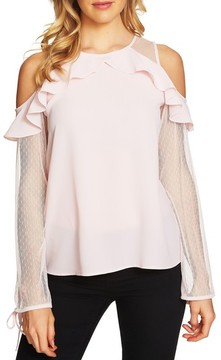 CeCe Women's Cold Shoulder Ruffle Blouse