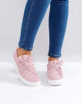 Glamorous Pink Knitted Twist Slip On Sneaker