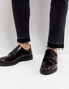 Asos Monk Shoes In Burgundy Leather