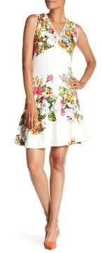Donna Ricco V-Neck Print Dress