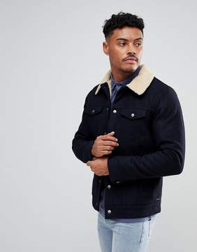 Pull&Bear Fleece Lined Jacket In Navy