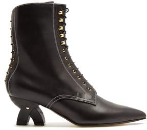 Loewe Point-toe lace-up leather ankle boots
