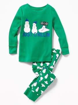 Old Navy 2-Piece Snowman-Graphic Sleep Set for Toddler & Baby