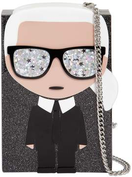 Karl Lagerfeld K/Ikonik Glittered Box Clutch