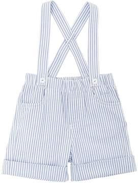 Il Gufo Cotton Seersucker Shorts W/ Suspenders