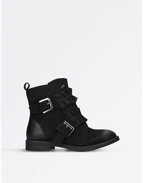 Miss KG Ladies Black Spice Ruffle-Detail Leather Boots
