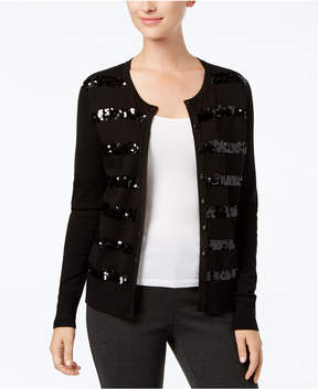 Charter Club Sequined-Stripe Cardigan, Created for Macy's