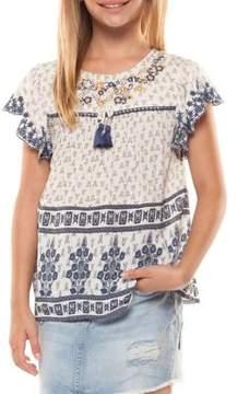 Dex Girl's Printed Cap-Sleeve Top