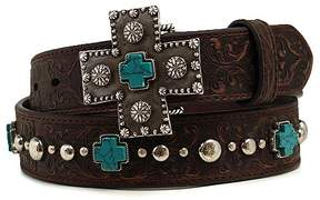 Ariat Brown & Teal Studded Cross Leather Belt