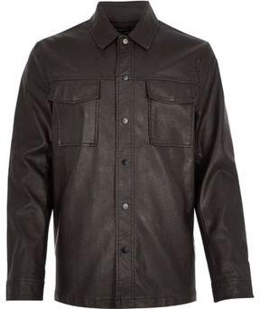 River Island Mens Dark brown leather look shirt jacket