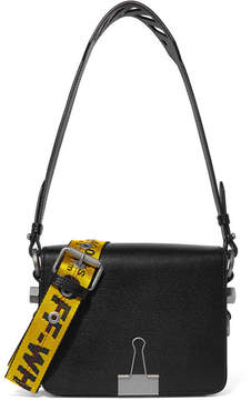 Off-White Textured-leather Shoulder Bag - Black