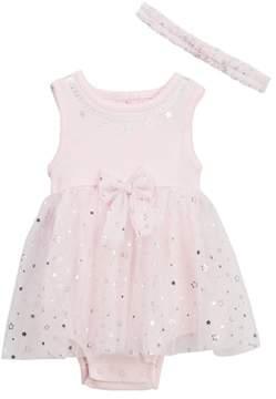 Little Me Shiny Star Popover Bodysuit & Headband Set (Baby Girls)