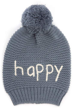 Hat Attack Happy Beanie With Faux Fur Pom