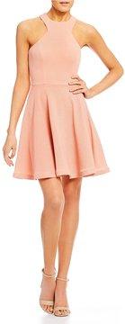 B. Darlin Racer Neckline Glitter Fit-and-Flare Dress