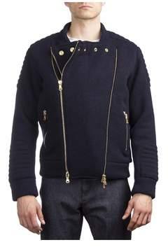 Pierre Balmain Men's Virgin Wool Nylon Double Zipper Jacket Navy Blue.
