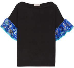 Emilio Pucci Silk Twill-trimmed Wool Top - Black