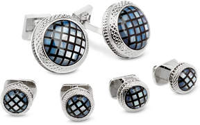 Ike Behar Men's Mosaic Mother of Pearl Cuff Links & Studs Set