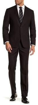 Kenneth Cole Reaction Brown Pin Dot Two Button Notch Lapel Techni-Cole Performance Flex Fit Trim Fit Suit