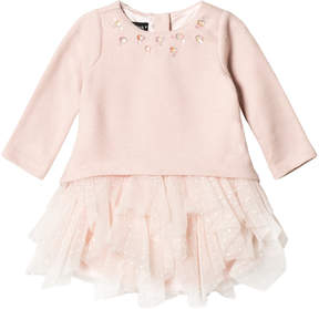 Kate Mack Biscotti Pink Jewelled Tutu Knit Dress