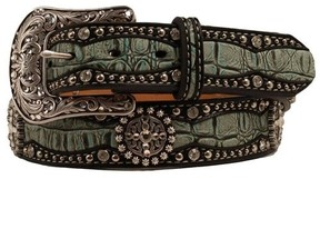 Ariat Western Belt Woens Croc Leather Overlay A1516828