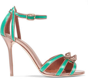 Malone Souliers Eunice Metallic Leather-trimmed Satin Sandals - Jade